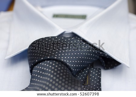 Necktie on a shirt - stock photo