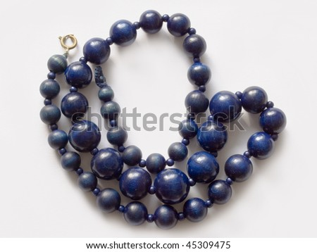 Neclace of blue wooden pearls