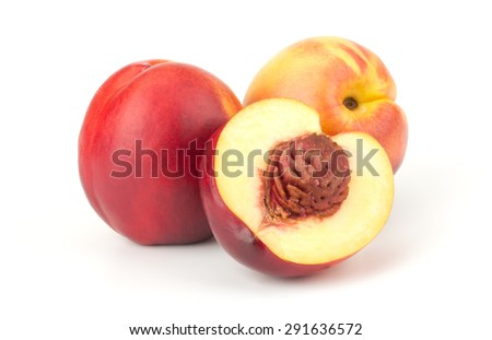 Nectarine fruit isolated on white background - stock photo