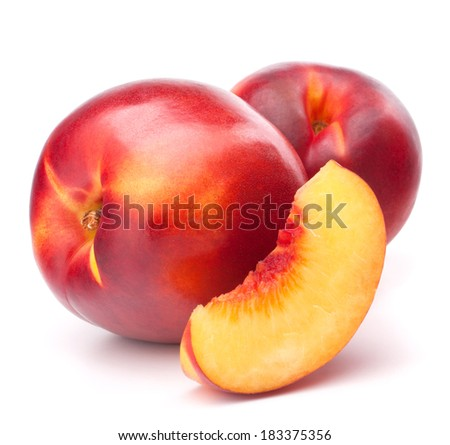 Nectarine fruit isolated on white background cutout - stock photo