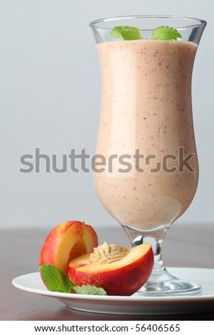 Nectarine milk shake - stock photo