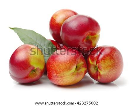 nectarine on a white background - stock photo