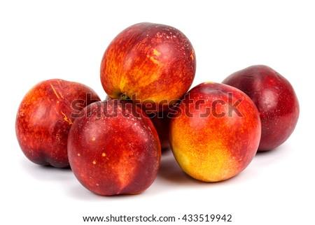 nectarines on a white background - stock photo