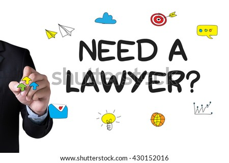 Need a lawyer? and Businessman drawing Landing Page on white background - stock photo