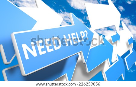 Need Help 3d render concept with blue and white arrows flying in a blue sky with clouds - stock photo