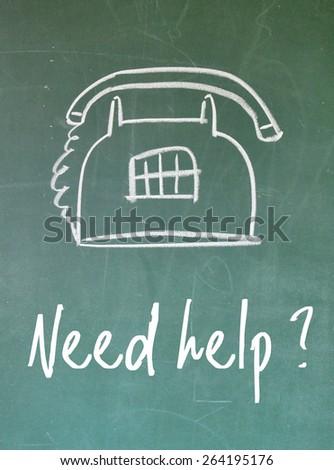 need help question sign on blackboard - stock photo