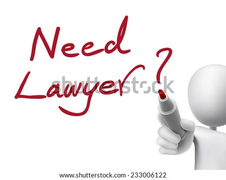 need lawyer words written by 3d man over transparent board - stock photo