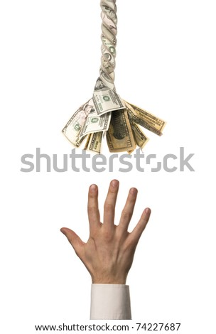 Need tired man's hand is pulling to helping financial rope with dollars - stock photo