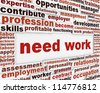Need work poster design. Employment help message background - stock photo