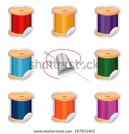 Needle and Threads Stickers, Silver Thimble, eight shaded tags in vivid, bright colors for sewing, tailoring, quilting, crafts, needlework, do it yourself projects. Isolated on white background.  - stock photo