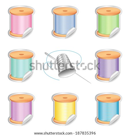 Needle and Threads Stickers, Silver Thimble, shaded tags in eight pastel colors for sewing, tailoring, quilting, crafts, needlework, do it yourself projects. Isolated on white background.  - stock photo