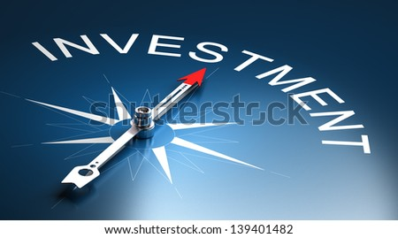 Needle of a compass pointing to the word investment, 3D Render suitable for financial risk management concept. - stock photo