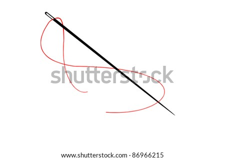 needle with a red thread - stock photo
