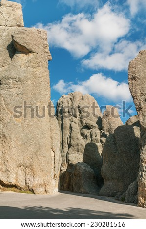 Needles Highway in the Black Hills of South Dakota. - stock photo