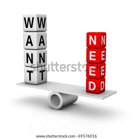 needs and wants balance - stock photo