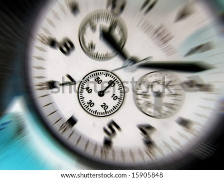 Negative effect applied to dial of wrist watch - stock photo