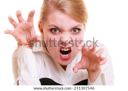 Negative emotions. Angry mad businesswoman crazy boss furious woman screaming isolated on white. Stress in business work.