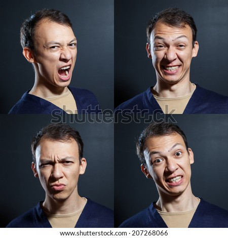 negative emotions young man variety - stock photo
