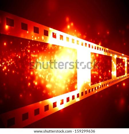 negative film strip on a dark background - stock photo