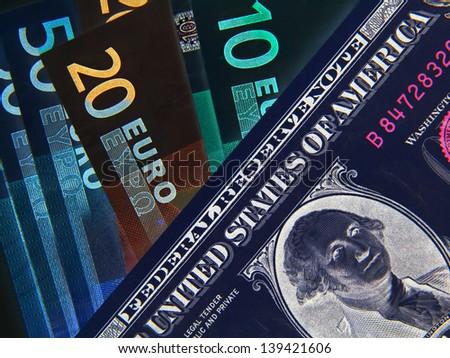 Negative image of Dollar and Euros bank notes - stock photo