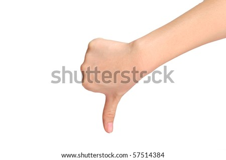 Negative Thumbs Down Sign with Clipping Path - stock photo