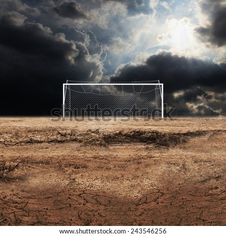 Neglected football field  - stock photo