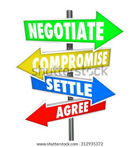Negotiate, Compromise, Settle and Agree words on arrow signs to illustrate a diplomatic discussion to reach a mutually approved deal - stock photo