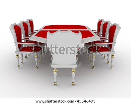 Negotiating table on a white background