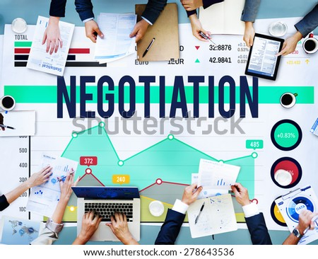 Negotiation Benefit Compromise Contract Growth Concept - stock photo