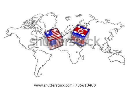 Negotiation concept dices flags usa north stock illustration negotiation concept dices with flags of usa and north korea on world map symbolize bilateral gumiabroncs Choice Image