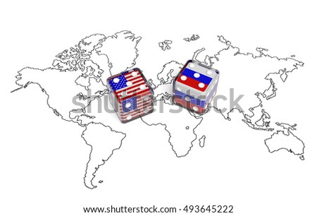 Negotiation concept: dices with flags of USA and Russia on world map symbolize bilateral meeting, foreign affairs, conflict of state national interest, discussion on global issues. 3d rendering