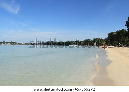 Negril, Jamaica - October 19 :Tropical resort beach activity on October 19, 2015 in Negril, Jamaica