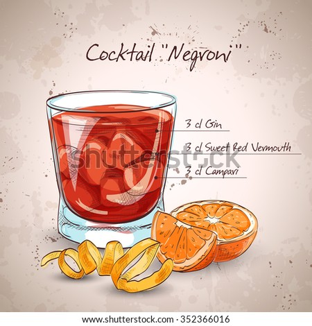 Negroni alcoholic cocktail, consisting of Gin, Campari, red vermouth, ice cubes, orange - stock photo