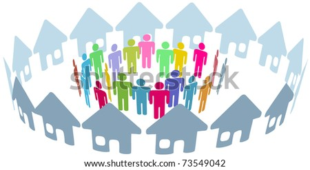 Neighborhood home people social network meet inside a circle of houses - stock photo