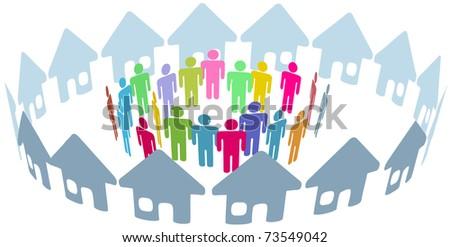 Neighborhood home people social network meet inside a circle of houses - stock photo