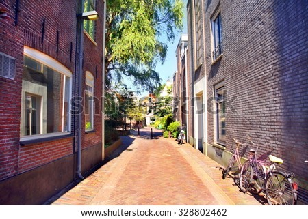 neighborhood in the city of Haarlem, Netherlands  - stock photo