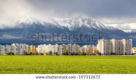 Neighborhood near High Tatras. Poprad, Slovakia - stock photo