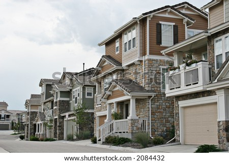 Neighborhood view - stock photo