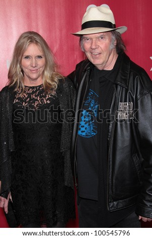 Neil Young and wife Peggy at the 2012 MusiCares Person Of The Year honoring Paul McCartney, Los Angeles Convention Center, Los Angeles, CA 02-10-12