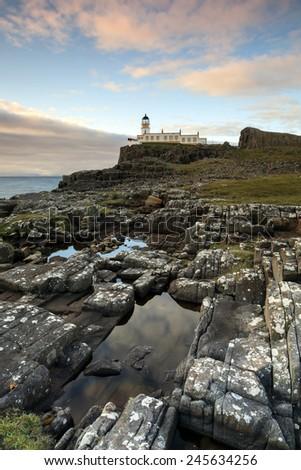 Neist Point Lighthouse on the Isle of Skye in Scotland  - stock photo