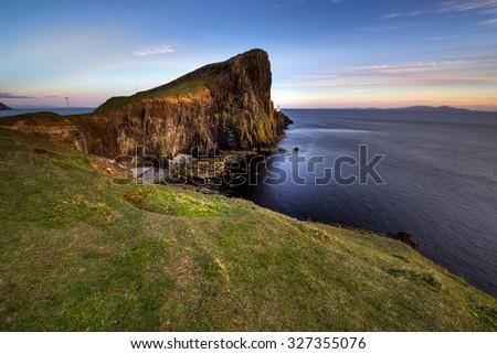 Neist Point on the Isle of Skye at dusk - stock photo