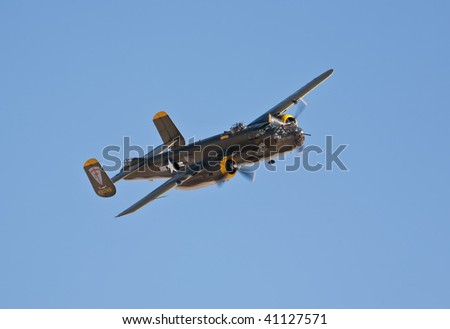 NELLIS AFB, LAS VEGAS, NV - NOVEMBER 14: B-25 Mitchell vintage WWII-era bomber aircraft performs at Aviation Nation 2009 on November 14, 2009 in Nellis AFB, Las Vegas, NV - stock photo