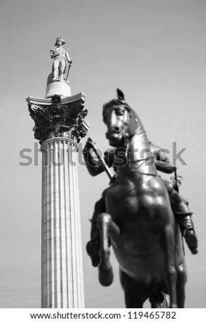 Nelson Column and Charles statue in Trafalgar Square - stock photo