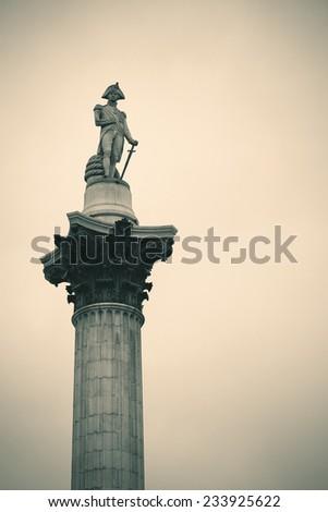 Nelson Column in Trafalgar Square in London - stock photo