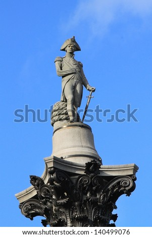 Nelson's Column is a monument in Trafalgar Square in central London built to commemorate Admiral Horatio Nelson, who died at the Battle of Trafalgar in 1805. - stock photo