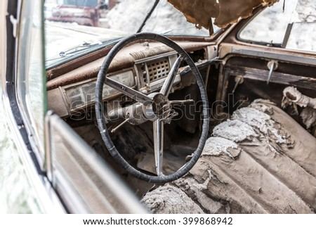 NELSON , USA - JUNE 10 : Interior view old rusty car in Nelson Nevada ghost town on June 10 ,2015 - stock photo
