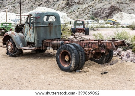 NELSON , USA - JUNE 10 : Old rusty truck in Nelson Nevada ghost town on June 10 ,2015 - stock photo