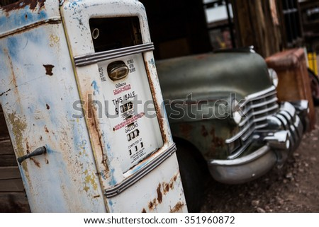NELSON , USA - JUNE 10 : Rusty old vintage car in abandoned mechanic garage near fuel pump Nelson Nevada ghost town on June 10 ,2015 - stock photo