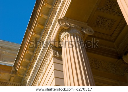 neo classical architectural detail of ionic column on classic greek temple style facade of art gallery of nsw