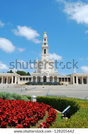 neo-classical style from 1928 of Sanctuary of Fatima, Portugal - stock photo